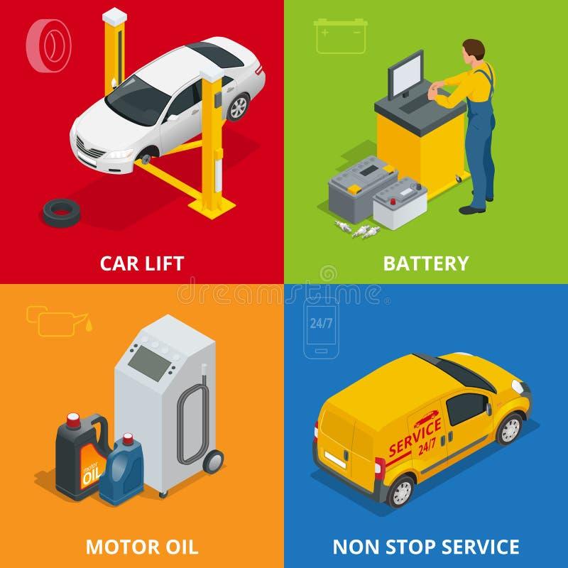 Autoreparaturkonzept Ermüden Sie Service, Meter, Automechanikerservice, Bahndienstwagenreparatur und Arbeits-Satz der Ebene 3d Au stock abbildung