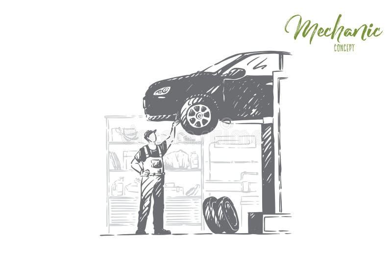AutoReparaturwerkstatt, Fahrzeugwerkstatt, junger Mechaniker im Overall, gesichtsloser Schlosser, Heimwerkerfestlegungsauto lizenzfreie abbildung