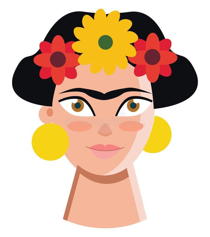 Autoretrato del artista mexicano Frida Kahlo dibujo o ilustración de color vectorial stock de ilustración