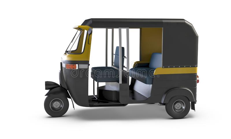 Autorickshaw isolated on white background. Traditional Indian public transport. Autorickshaw isolated on white background. Traditional vintage Indian public vector illustration
