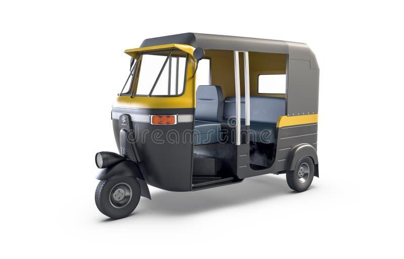 Autorickshaw op witte achtergrond wordt ge?soleerd die Traditioneel Indisch openbaar vervoer vector illustratie
