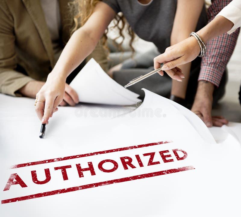 Autorisieren Sie Zulage genehmigen Erlaubnis-Grafik-Konzept stockfoto