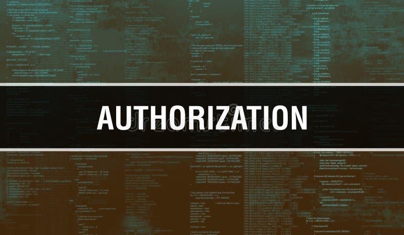 Autorização com base na tecnologia digital de código binário Antecedentes abstratos com código de programa e autorização Programa imagem de stock