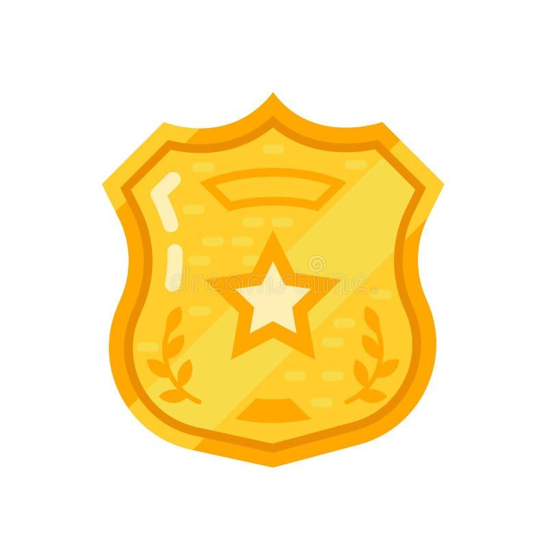 Autorização do ouro, crachá da polícia, estrela do xerife ordem do oncept, lei do cumprimento ilustração do vetor