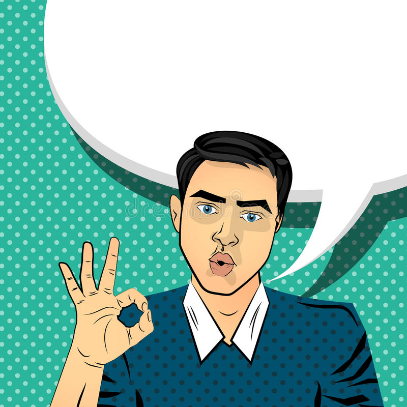 Autorización morena atractiva de la mano del gesto del hombre ilustración del vector