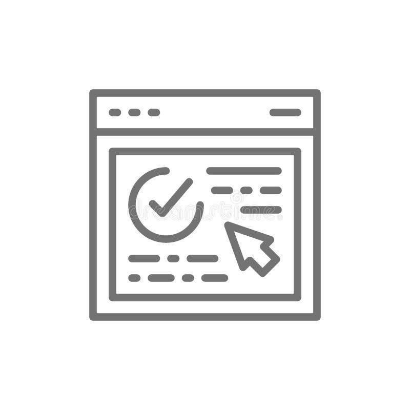 Autorizzazione, pagina Web approvata, sito Web con il segno di spunta, linea icona di verifica del browser royalty illustrazione gratis