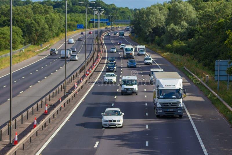 Autoroute de M près de West Bromwich, Birmingham, R-U photographie stock