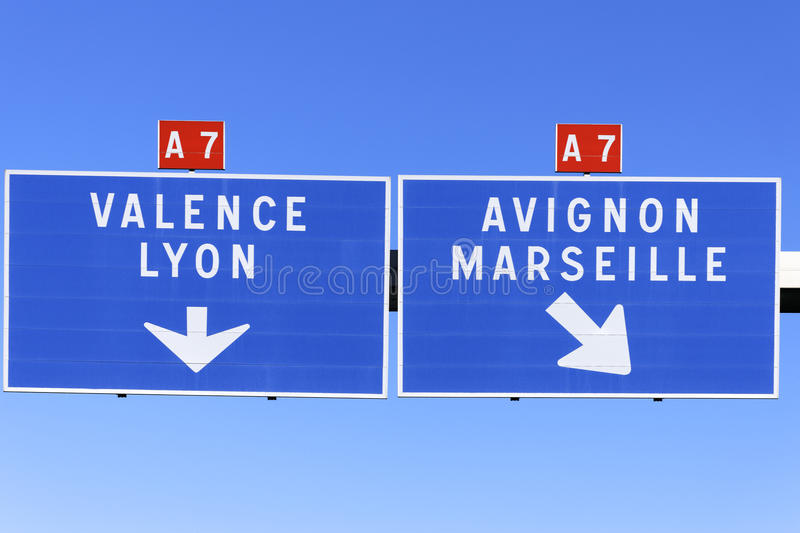Autoroute direction. A French road sign pointing the way to marseille, valence, avignon and lyon royalty free stock image