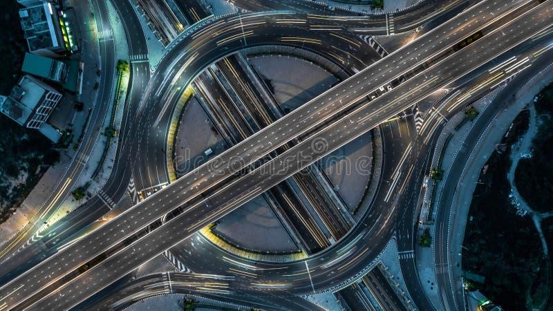 Autoroute urbaine de Bangkok de vue aérienne, route, autoroute, Tollway, photographie stock libre de droits