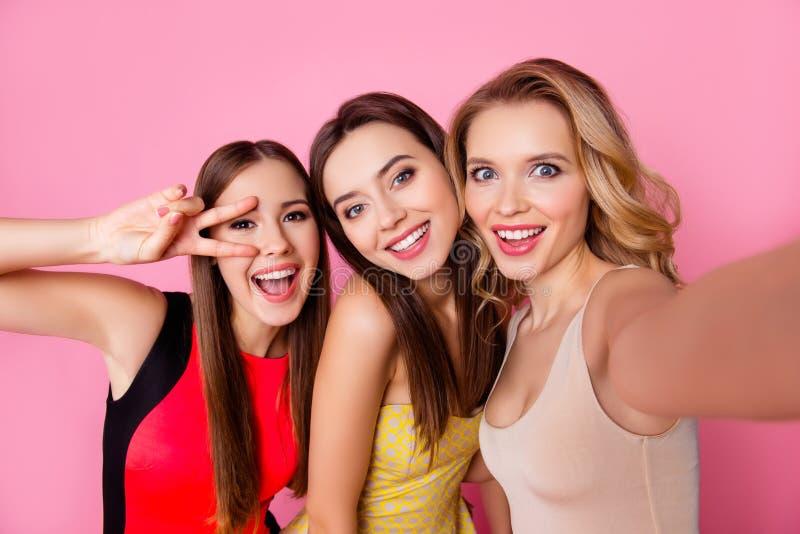 Autorretrato de três engraçados, funky, emocional, expressivo, pret imagens de stock royalty free