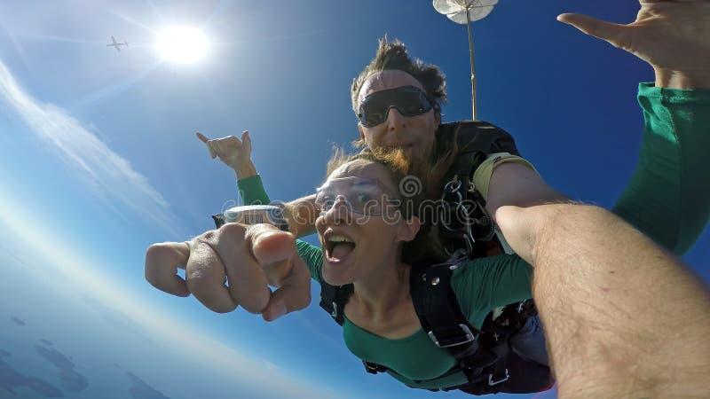 Autorretrato do tandem do mergulho de céu foto de stock royalty free