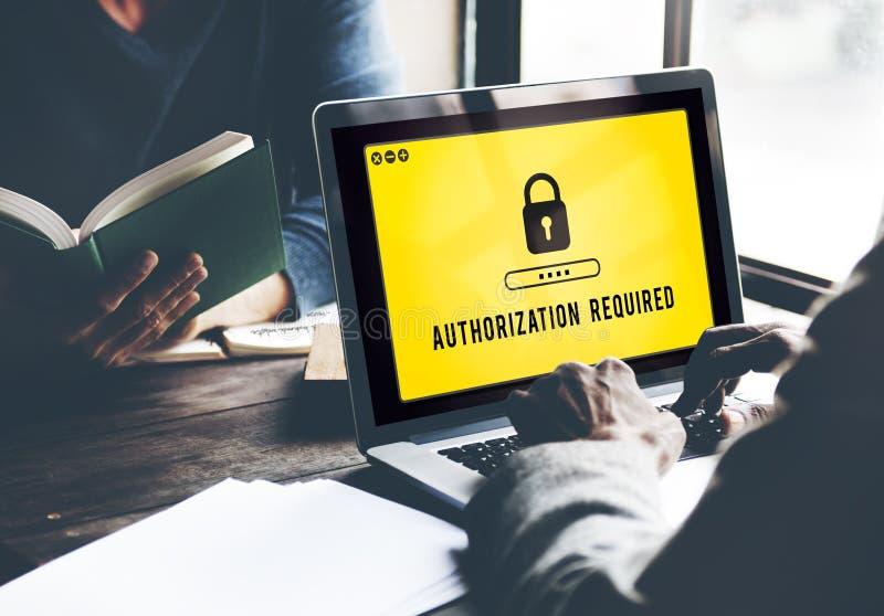 Autoryzaci prywatności pozwolenia wymagania Bezpiecznie pojęcie fotografia stock