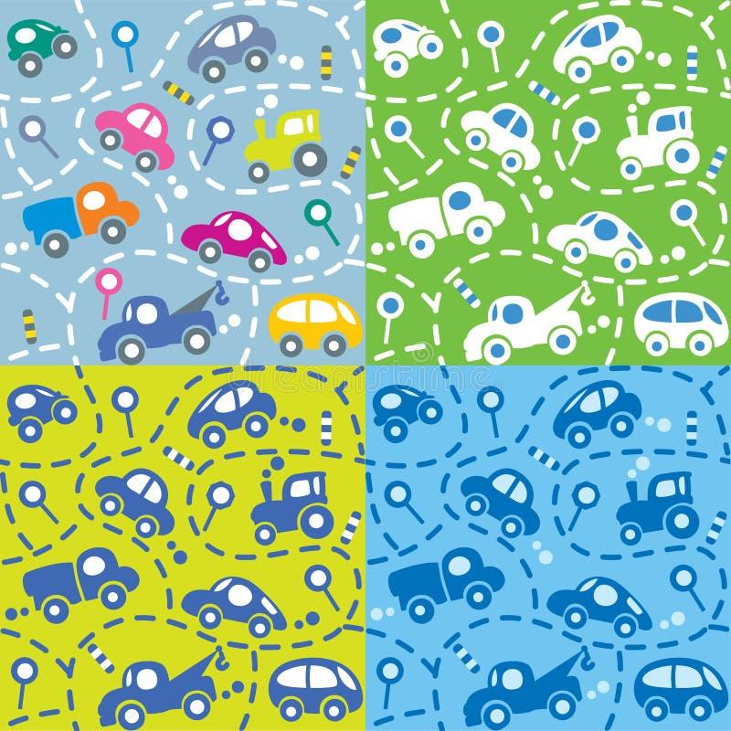 Autos auf der Straße Nahtloser Kindermustersatz stock abbildung
