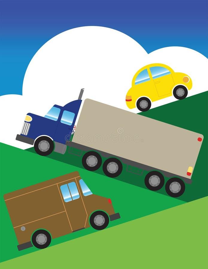 Autos, die oben Hügel gehen vektor abbildung