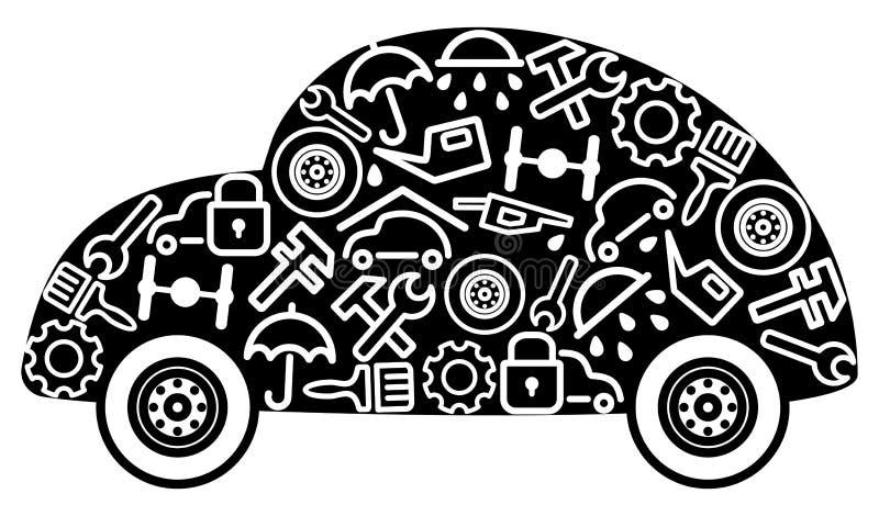 Autos und Ersatzteile stock abbildung