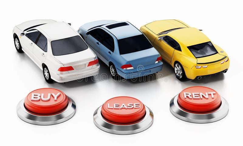 Autos und Kauf, Miete, Mietknöpfe lokalisiert auf weißem Hintergrund Abbildung 3D vektor abbildung