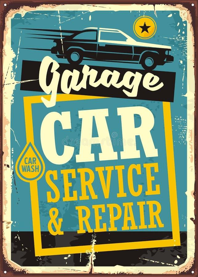 Autos und Retro- Zeichenschablone der Garage stock abbildung