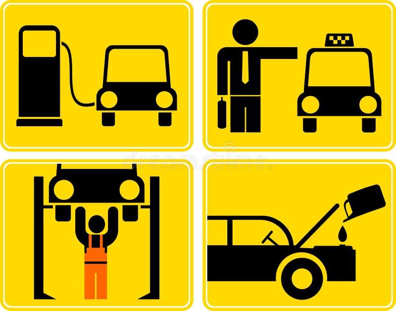 Autoservice, brandstofpost, de olie van de veranderingsmotor, taxi royalty-vrije illustratie