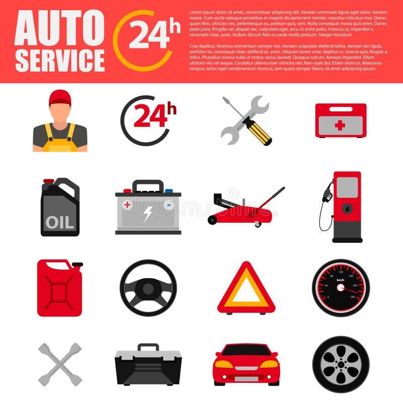 Autoservice-Ebenenikonensatz Automechanikerservice-Ebenenikonen der Bahndienstwagenreparatur und -c$arbeitens AutomechanikerKonze lizenzfreies stockfoto
