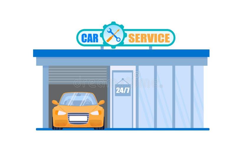 Autoservice-Garage Wartung 24 Stunden-Station lizenzfreie abbildung