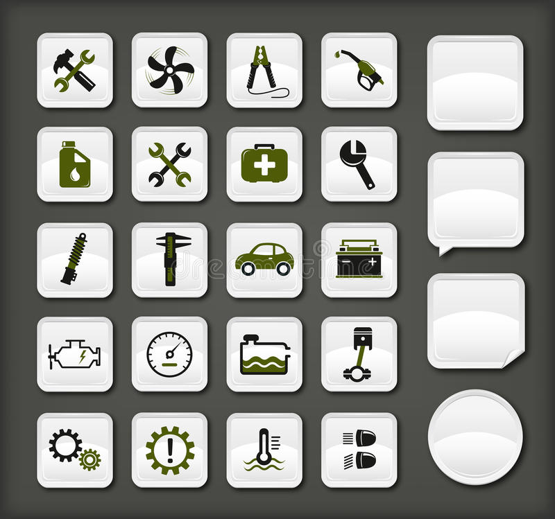 Autoservice-Ikonen stock abbildung