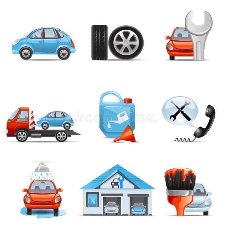 Autoservice-Ikonen lizenzfreie abbildung