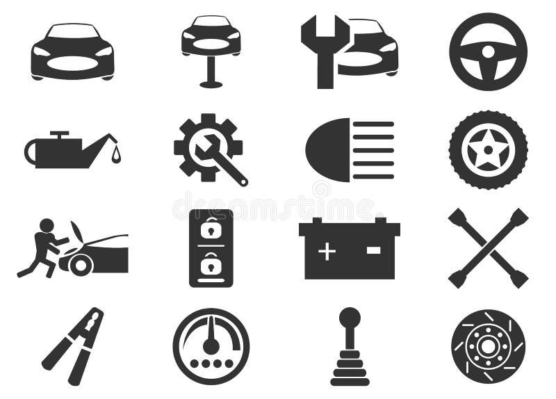 Autoservice-Ikonen eingestellt lizenzfreie stockfotografie
