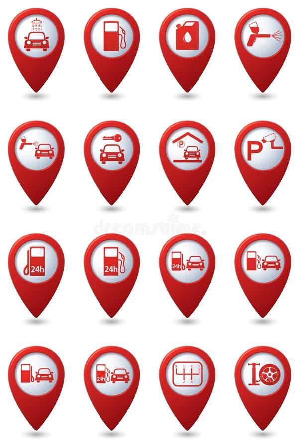 Autoservice-Ikonen eingestellt lizenzfreie abbildung