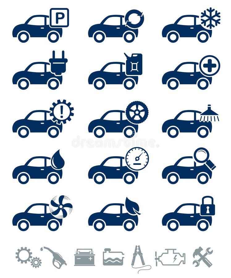 Autoservice-Ikonenblauset lizenzfreie abbildung