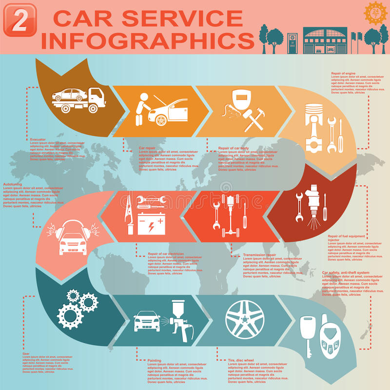 Autoservice, Reparatur Infographics lizenzfreie abbildung