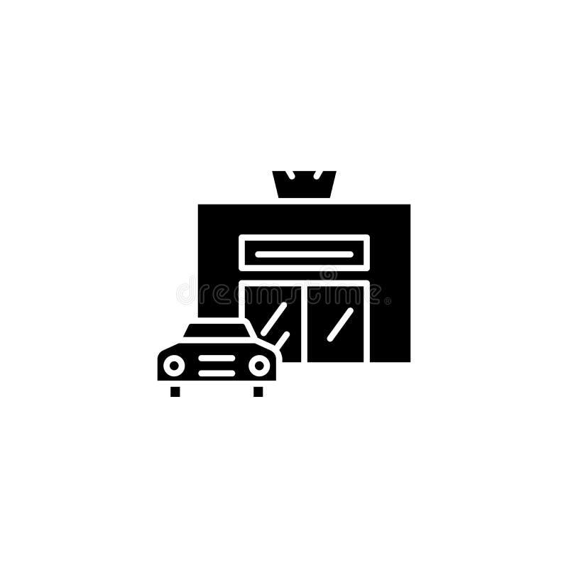 Autoservice-Schwarzikonenkonzept Autoservice-Ebenenvektorsymbol, Zeichen, Illustration vektor abbildung