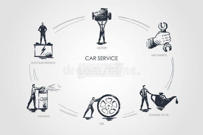 Autoservice - Selbstelektronik, Malerei, Reifen, Änderung des Öls, Mechaniker, Bewegungsvektor-Konzeptsatz vektor abbildung