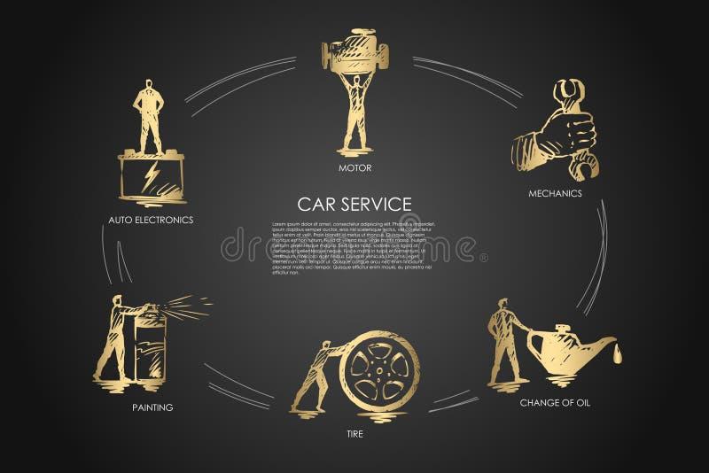 Autoservice - Selbstelektronik, Malerei, Reifen, Änderung des Öls, Mechaniker, Bewegungsvektor-Konzeptsatz lizenzfreie abbildung