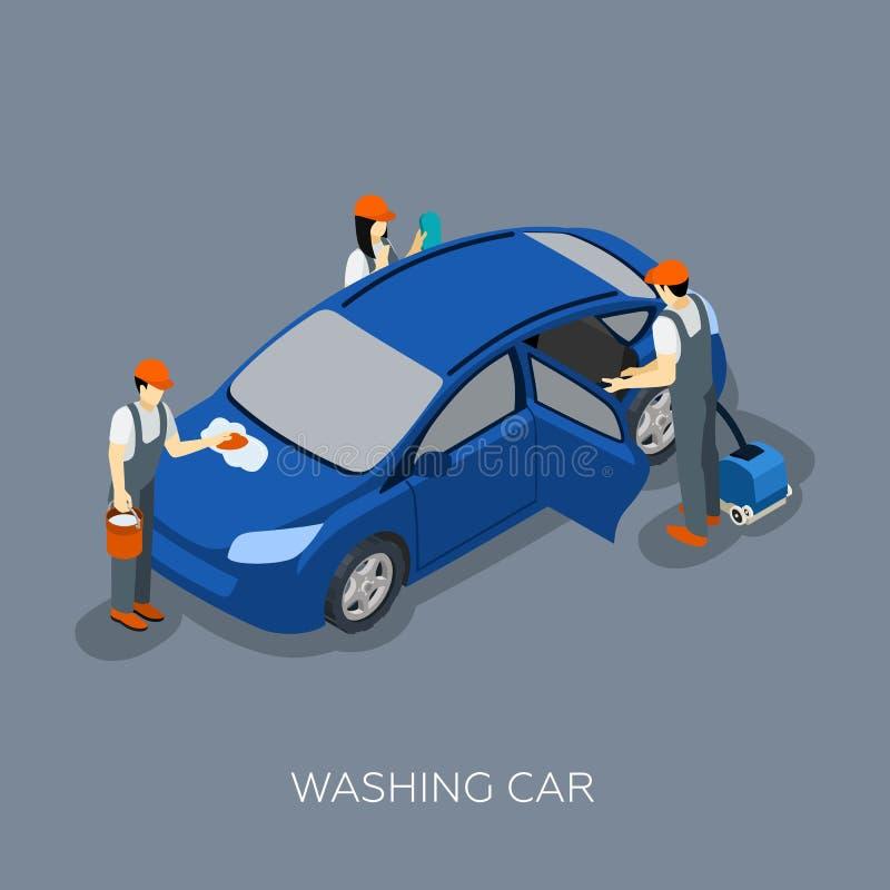 Autoservice Team Washing Car Isometric Banner royalty illustrazione gratis