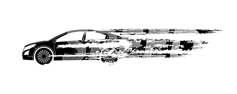 Autosilhouet die de snelheid op een witte achtergrond symboliseren Vecto royalty-vrije illustratie