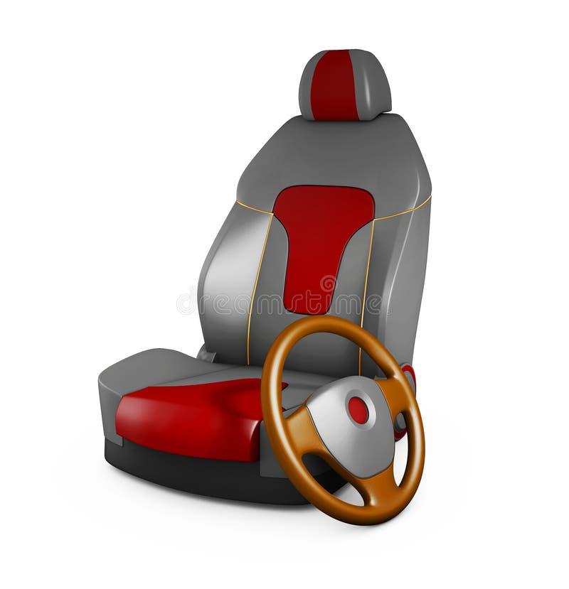 Autositz- und Lenkrad der Illustration 3d graues Automobildetails vektor abbildung