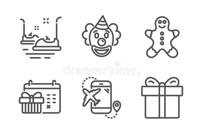 Autoskooter-, Clown- und Lebkuchenmannikonensatz Weihnachtskalender, Flugziel- und Geschenkboxzeichen Vektor stock abbildung