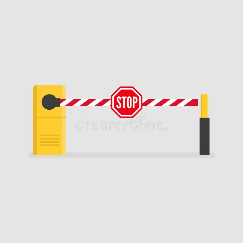 Autosperre mit dem Stoppschild Parkeingang mit Sicherheitsbarrieretor vektor abbildung