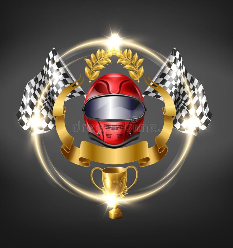 Autosport, das Wettbewerbssieg-Vektorikone läuft lizenzfreie abbildung