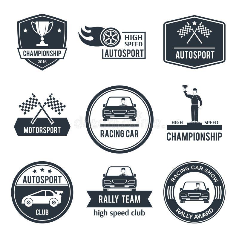 Autosportetiket stock illustratie