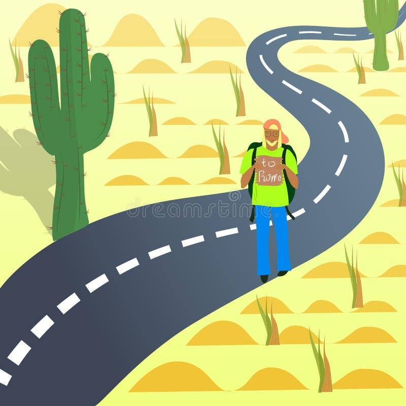 Autostopista joven en el camino en desierto stock de ilustración