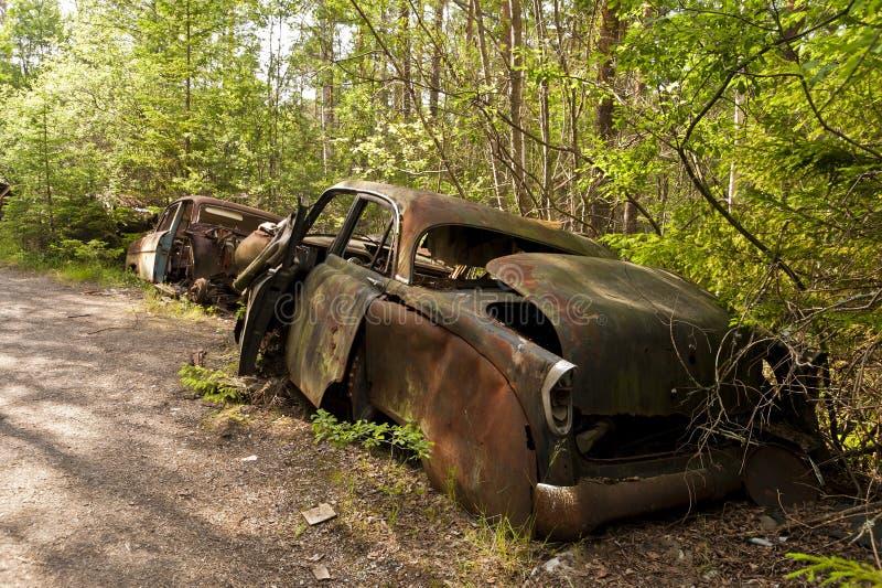 Autostortplaats in Kirkoe Mosse stock afbeelding