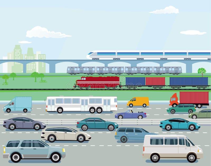 Autostrad koleje i ruch drogowy obraz stock