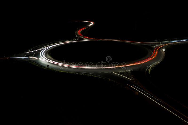 Autostrada di notte D0 a Praga fotografia stock libera da diritti