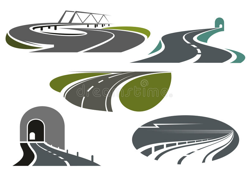 Autostrada, drogi, tunele i most ikony, ilustracji
