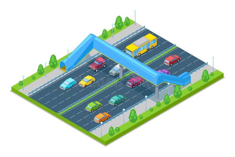 Autostrada i crosswalk most dla ludzi nad droga Wektorowa Isometric 3D ilustracja Zbawczy wiadukt ilustracja wektor