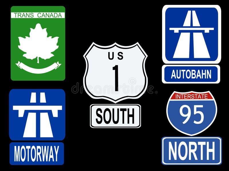 autostrada międzynarodowe znaki ilustracji