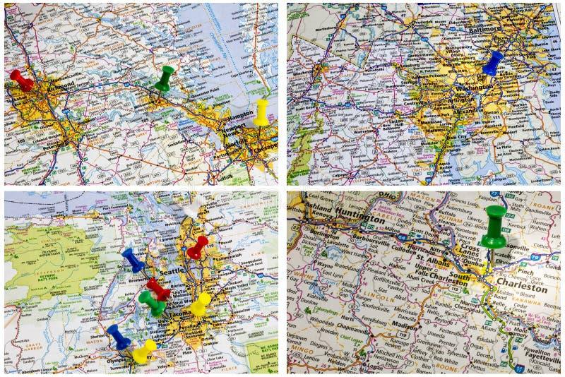 Autostrada międzystanowa kartografuje Ameryka fotografia royalty free