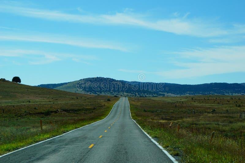 Autostrada przez równiny w góry Nowy - Mexico obrazy royalty free
