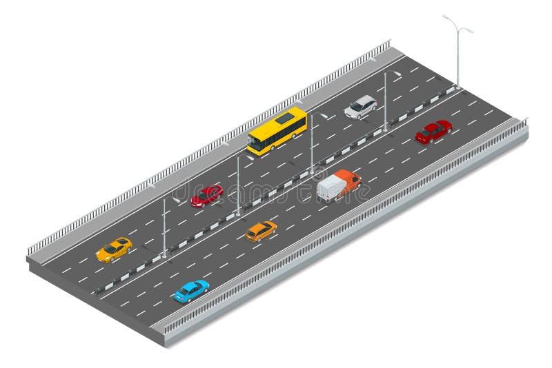 Autostrada ruch drogowy Autostrada transport z samochodami i ciężarówką Płaska 3d Wektorowa isometric ilustracja royalty ilustracja